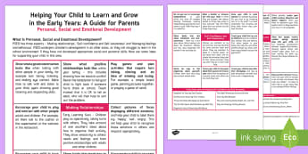 Supporting your child's learning in Reception - Personal, Social and Emotional Development Parent and Carer Information Sheet - Supporting, parents, early years, eyfs, reception, foundation, fs2, young, children, guide, psed, fe