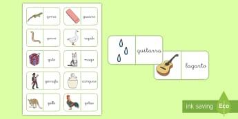 Dominos: La letra G y la letra Gu - lecto, leer, lectura, sonidos, letra , lecto-escritura, fónemas, sonidos, letra g, gu, sonido g fue