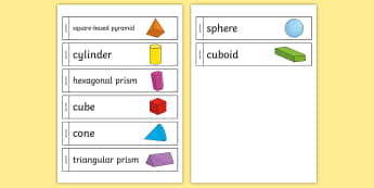 3D Shape Paper Chain - 3d shapes, nets, classroom display, sphere, cuboid, cube, pyramid,