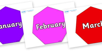 Months of the Year on Heptagons - Months of the Year, Months poster, Months display, display, poster, frieze, Months, month, January, February, March, April, May, June, July, August, September