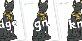 Silent Letters on Egyptian Cats - Silent Letters, silent letter, letter blend, consonant, consonants, digraph, trigraph, A-Z letters, literacy, alphabet, letters, alternative sounds