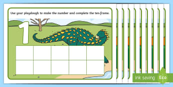 Dinosaur Ten-Frame Number Playdough Mats -  Early Years, EYFS, Foundation, Mathematics, Maths, Maths Mastery, number, Counting, Subitising