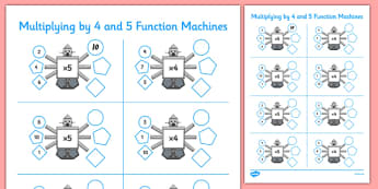 Multiplying by 4 and 5 Function Machines - CfE, Function Machines, multiplication, maths