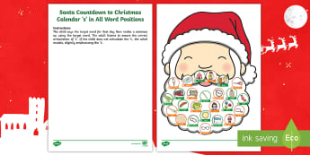 Santa Countdown to Christmas Calendar 's' in All Word Positions Activity Sheet - speech, initial, final, medial, sound, word level, sentence level, articulation, SALT, Worksheet