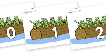 Numbers 0-50 on Little Speckled Frogs - 0-50, foundation stage numeracy, Number recognition, Number flashcards, counting, number frieze, Display numbers, number posters