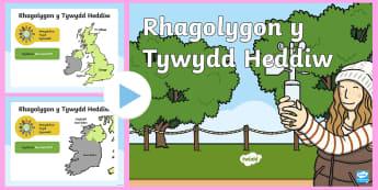 Pŵerbwynt Cyflwynydd Tywydd Chwarae Rôl - tywydd, map, mapiau, rhagolygon, rhagolwg, cyflwynydd, chwarae rol, teledu ,Welsh.