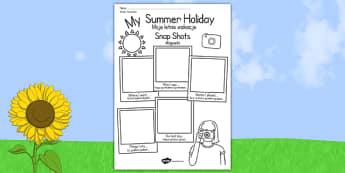 Polish Translation Summer Holiday Snapshots Writing Frame - polish