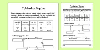 Taflen waith Cylchedau Trydan - welsh, electric, circuits, worksheet