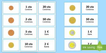 Cartes pour jeu de paires : La valeur des pièces - devise, monnaie, euros, montant, cycle 1, cycle 2,French