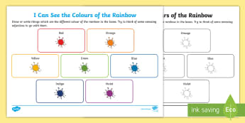KS1 I Can See the Colours of the Rainbow Activity Sheet - back to school art project, rainbows, colours around us, art, worksheet