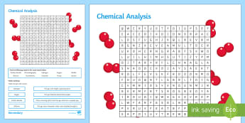 Chemical Analysis Word Search - formulations, soluble, insoluble, chromatography, purity