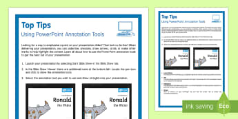 PowerPoint Annotation Top Tips - powerpoint, annotation, class tips, It, ICT, computing, presentations, interactive, whiteboard