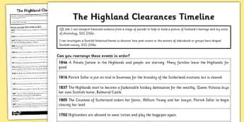 The Highland Clearances Timeline Worksheet - highland, clearances
