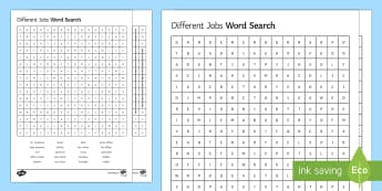 Different Jobs Word Search - work, wordsearch, word, search, sen, send, jobs, skills, occupation, pupils, activity, worksheet.
