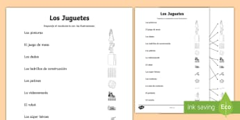 Toys Word and Picture Matching Activity Sheet - Spanish, KS2, toys, matching, word, picture, worksheet, activity sheet, languages,