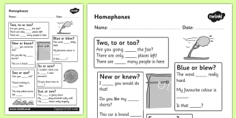 Homophones Worksheet - homophones, homophone worksheet, basic homophones worksheet, word types, ks2 literacy, homophone literacy worksheet, homophone words, homphones