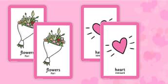 Valentine's Day Pairs Matching Game Romanian Translation - romanian, valentines, day, pairs