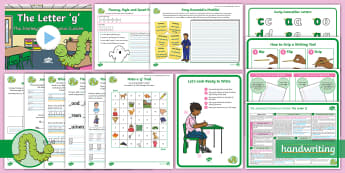 The Journey to Continuous Cursive: The Letter 'g' (Curly Caterpillar Family Help Card 6) KS1 Activity Pack - looped, handwriting, joined, legible, fluent, curly caterpillar, nelson handwriting, penpals