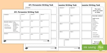 AFL Persuasive Writing Template - football, League, opinion, argument, debate, sport, Australia