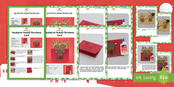 Handprint Rudolph Christmas Card Craft Instructions English/Hindi - Rudolph, card, holiday, Christmas, easy craft, simple craft, follow the instructions, EAL