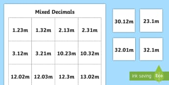 Mixed Decimals Number Cards - Decimals, one-decimal place, two-decimal places, tenths, hundredths, ordering, place value