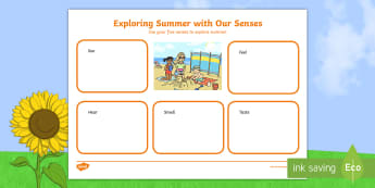 F-2 Exploring Summer With Our Senses Worksheet / Activity Sheet - Seasons, Australia, weather, worksheet, sight, touch, taste, hearing,