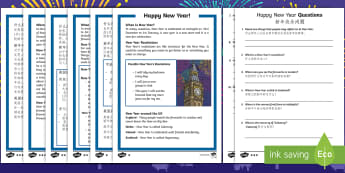 KS1 New Year Differentiated Reading Comprehension Activity English/Mandarin Chinese - KS1/2 New Year resources (January), 31st, 1st, December, January, resolution, celebration, new, new