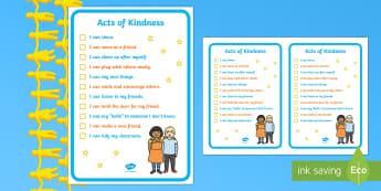 Kindness Week Kind Acts Checklist - Twinkl Kindness Week, kindness week, twinkl kindness week, kind resources, relationships, friendship