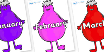 Months of the Year on Monsters - Months of the Year, Months poster, Months display, display, poster, frieze, Months, month, January, February, March, April, May, June, July, August, September