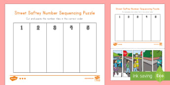 Street Safety Number Sequencing Puzzle - street safety, personal safety, math, pre-k math, kindergarten math, number puzzle, number sequencin