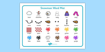 Snowman Word Mat - EYFS, Early Years planning, winter, seasons, story, The Snowman, Raymond Briggs, Literacy, descriptive writing