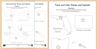 States and Capitals Trace the Words Activity Sheet - States and Capitals, USA States, US States, United States, US Capitals, USA Capitals, US Capital Cit