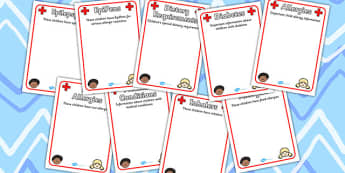 Pupil Medical Information Editable Posters - medical information, pupil, child information, allergy, dietry requirement, EpiPens, nut allergy