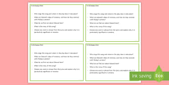 I'm Not Saying a Word Question Cards - GCSE English Literature, Drama, Contemporary Drama, Modern Drama, Lyrics, Song.
