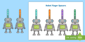 Robot Finger Spacers - left handed, finger space, writing aid, sentence structure, finger, space, writing space, space aid,