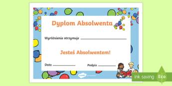 Dyplom Absolwenta - graduation, certyfikat, certyfikaty, koniec, szkoły, dyplomy, absolwent,Polish