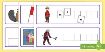 Canadian Symbols Cut and Paste Activity Sheet - Social Studies, Canada, Symbols, Spelling, Language Arts, Primary, Grade 1, Grade 2, Grade 3.