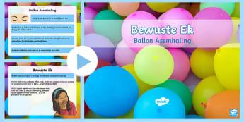 Bewuste Ek: Ballon Asemhaling PowerPoint - mediteer, kalm, rustig, ontspan, stres, boelies