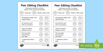 Peer Editing Checklist - Peer Editing, Foundation, Year 1, checklist, Writing, Grammar, worksheet, ACELY1652, assessment, nar