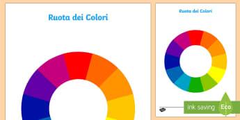 La Ruota dei Colori Attività - la, ruota, dei, colri, primari, secondari, colorato, italiano, italian, materiale, scolastico