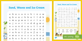 Sand, Waves and Ice Cream Word Search - ROI, Sand, Waves & Ice Cream, Aistear, Seaside, Beach, English, Activity, Display, Story, Irish
