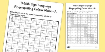 British Sign Language Left Handed Fingerspelling Colour Maze A