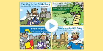 Castles, Knights and Dragon Songs and Rhymes PowerPoints Pack - knights, dragons, kings, queens, princesses, princes, royalty, medieval, action songs, singing time, nursery