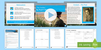 GCSE Poetry Lesson Pack To Support Teaching On 'The Soldier' by Rupert Brooke - Rupert Brooke, war, conflict, soldier, nationalism, eduqas, poetry anthology