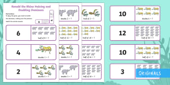 Ronald the Rhino Halving and Doubling Dominoes - Ronald, Ronald the Rhino, leopard, python, story, friendship, double, times, two, times table, half,