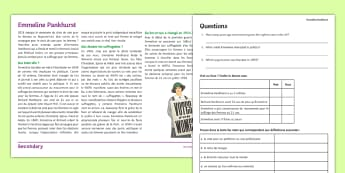 International Women's Day: Emmeline Pankhurst Differentiated Reading Comprehension Activity French - Cultural Understanding, history, histoire, culture,