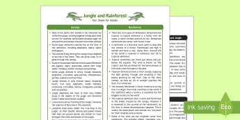Jungle and Rainforest Fact Sheet for Adults - EYFS, Early Years, KS1, Understanding the World, exploration, discovery, finding out, facts, information, Jungles, rainforests, ecosystems, habitats, animals
