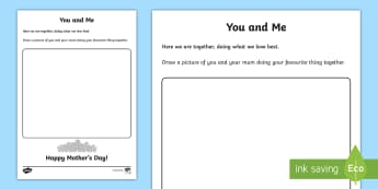 You and Me Read and Draw Worksheet / Activity Sheet - World Around Us KS2 - Northern Ireland, Mother's Day, Mothering Sunday, Mum, Mummy, Mother's day c