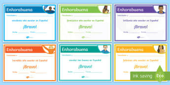 nd-of-Year Good Year Award Certificates Spanish - Diploma, award, prize, end, term, reward, spanish, ks3