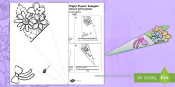 Mother's Day Paper Flower Bouquet Paper Craft English/Hindi - Mother's Day Paper Flower Bouquet Colouring Activity - bouquet, mothers day, paper, colering, colou